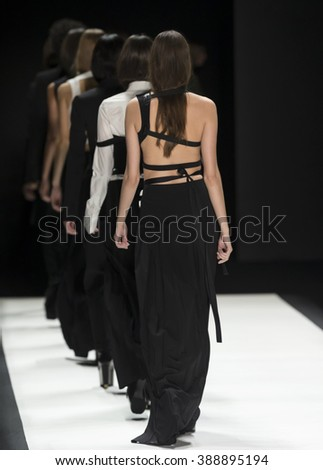 New York City, USA - February 16, 2016: Models walk the runway during the Vera Wang Women's show as a part of Fall 2016 New York Fashion Week