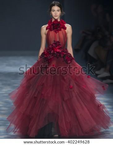 New York City, USA - February 17, 2016: Pauline Hoarau walks the runway during the Marchesa Women's show as a part of Fall 2016 New York Fashion Week - stock photo