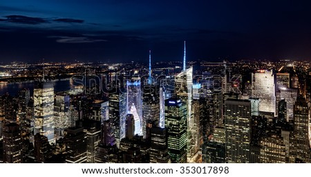 New York City, USA - July 19: Aerial view of Manhattan at night in New York City, USA on July 19, 2013.