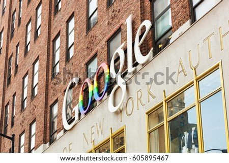 New York City, Usa - July 11, 2015: Exterior view of a Google headquarters building. Google is a multinational corporation specializing in Internet-related services and products.