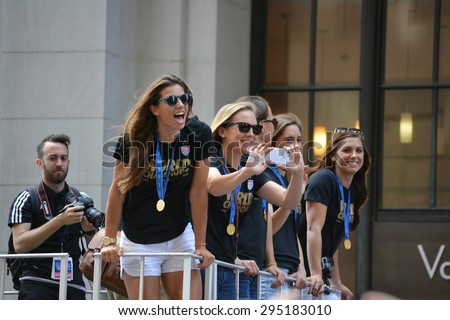 New York City, USA - July 10, 2015: Members of the Women's World Cup championship team on a float in a victory parade in New York City.