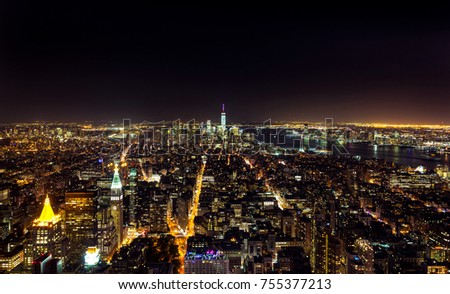 New York City, Usa - July 18, 2015: Top view of the city at night. Manhattan is active 24 hours a day and is visited by millions of tourists every year.