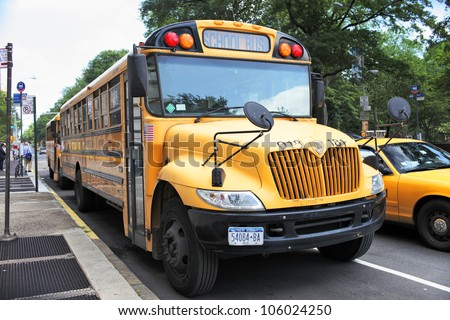 NEW YORK CITY, USA - JUNE 14: A New York City school bus. In the United States, school buses provide an estimated 10 billion student trips every year. June 14, 2012 in New York City, USA - stock photo