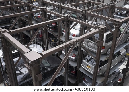 NEW YORK CITY, USA - JUNE 06 2016 - An automatic multi-story automated car parking system on in New York City, USA