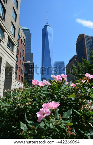 New York City, USA - June 21, 2016: Flowers blooming in Lower Manhattan with the Landmark World Trade Center Tower One in the background in 2016 in New York City.