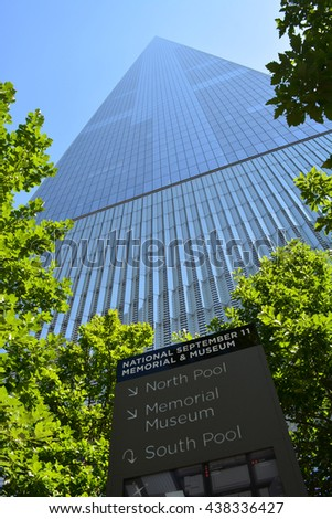 New York City, USA - June 11, 2016: Looking up at the landmark World Trade Center Tower One in Lower Manhattan in 2016 in New York City.