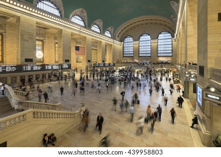 NEW YORK CITY, USA - JUNE 06 2016 - Main lobby at Grand Central Terminal, the largest train station in the world by number of platforms New York City, USA