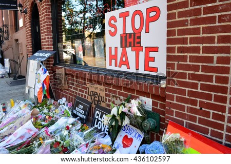 New York City, USA - June 13, 2016: Memorial outside the landmark Stonewall Inn for the victims of the mass shooting in Orlando in 2016 in New York City.