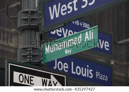 NEW YORK CITY, USA - JUNE 08 2016 - New York City renames Manhattan Street in Muhammed Ali Way near Madison Square Garden in New York City, USA