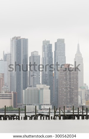 NEW YORK CITY, USA - JUNE 2, 2015: New York City skyline as seen on a foggy day of June 2, 2015. - stock photo