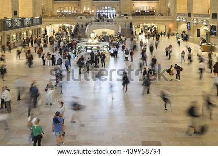 NEW YORK CITY, USA - JUNE 06 2016 - People in the main lobby at Grand Central Terminal, the largest train station in the world by number of platforms New York City, USA