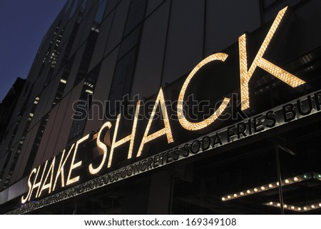 NEW YORK CITY, USA - JUNE 8: Shake Shack is a restaurant chain serving hamburgers, hot dogs, french fries, milkshakes and similar foods. June 8, 2012 in New York City, USA - stock photo