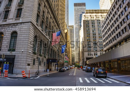 NEW YORK CITY - USA, JUNE 13 2016: Streets at the center of New York City on June 14 2016.