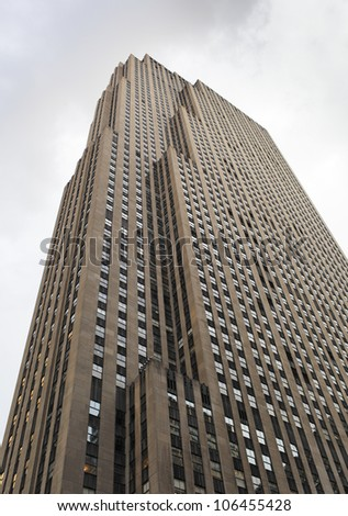 NEW YORK CITY, USA - JUNE 8: The GE Building is an Art Deco skyscraper that forms the centerpiece of Rockefeller Center in Midtown Manhattan. June 8, 2012 in New York City, USA - stock photo