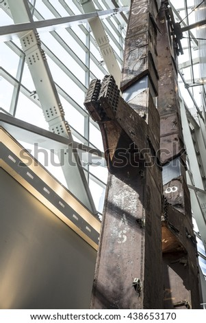 NEW YORK CITY, USA - JUNE 08 2016 - The Last Column in the National 9/11 Memorial Museum at Ground Zero in Lower Manhattan, New York City, USA - stock photo