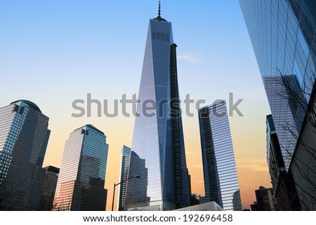 NEW YORK CITY, USA - MARCH 22, 2014: Lower Manhattan New York City Skyline at sunset.  - stock photo