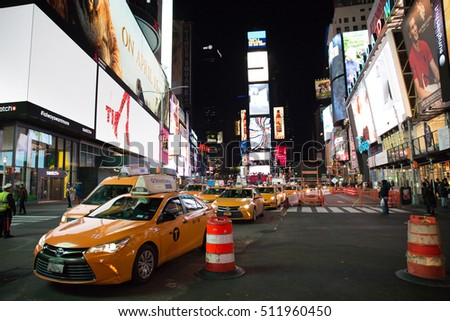 New York City, USA - March 5th, 2016: View from Times Square, Manhattan with traffic congestion, with many taxis lined up.