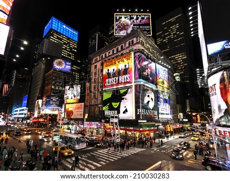 NEW YORK CITY, USA - MARCH 03, 2011: Times Square at night with Broadway Theaters and animated LED signs, symbol of New York City and the United States.