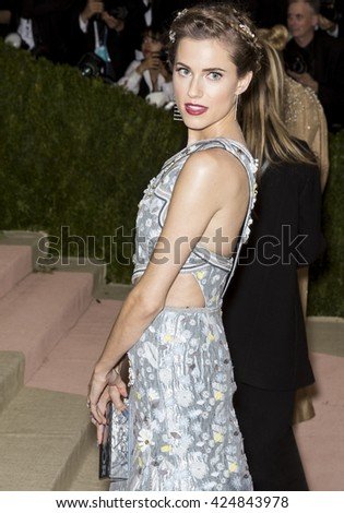 New York City, USA - May 2, 2016: Actress Allison Williams attends the Manus x Machina Fashion in an Age of Technology Costume Institute Gala at the Metropolitan Museum of Art - stock photo