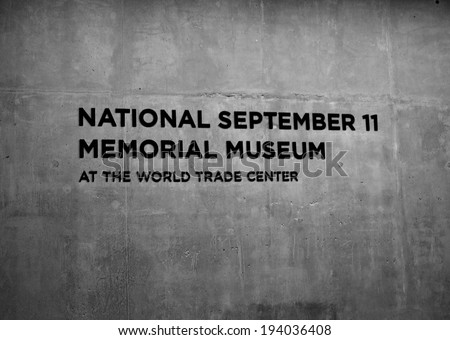 NEW YORK CITY, USA - May 17, 2014: Entrance to the newly opened National 9/11 Memorial Museum at Ground Zero in Lower Manhattan.  - stock photo