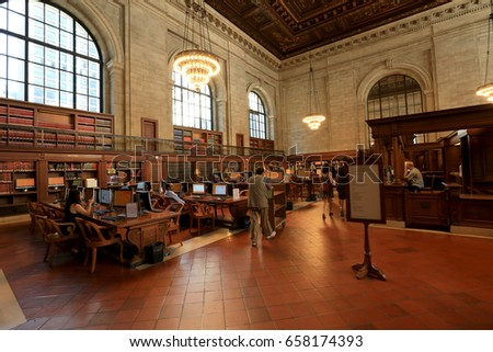 New York City USA - May 20, 2017: Interior of the famous NYC public library. With 53 million items, the NYC Public Library is the second largest public library in the USA