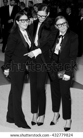 New York City, USA - May 2, 2016: Jenna Lyons, Jennifer Konner and Lena Dunham attend the Manus x Machina Fashion in an Age of Technology Costume Institute Gala at the Metropolitan Museum of Art