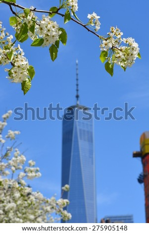 New York City, USA - May 3, 2015: Spring in bloom near the newly opened World Trade Center Tower One at Ground Zero in New York City.  - stock photo