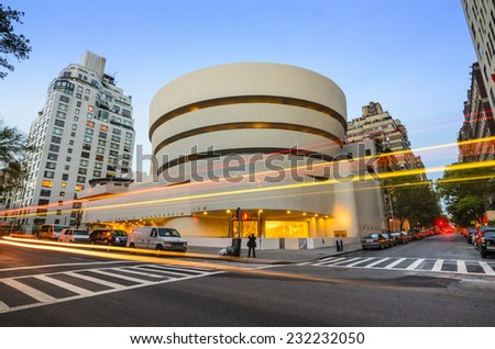 New York City, USA - May 12, 2012: The Guggenheim Museum on 5th Ave. Established in 1937, the current museum building dates from 1959 and was designed by famed architect Frank Lloyd Wright. - stock photo