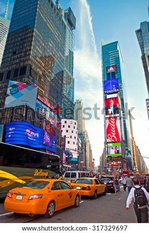 NEW YORK CITY, USA-MAY 29, 2013: Times Square is the most visited tourist spot, famous for colorful advertising