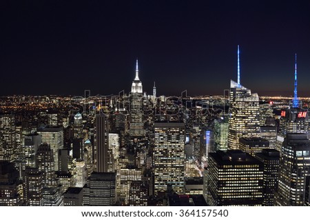 New York City, USA - November 24, 2015: A night view of the New York City. - stock photo