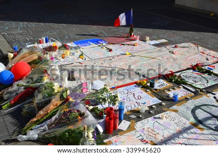 New York City, USA - November 16, 2015: Memorial for the terrorist attacks in Paris in Washington Square Park in New York City. - stock photo
