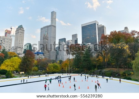 New York City, USA - November 16, 2016: People ice skate on the Womman Rink in Central Park. The park is the most visited urban park in the United States with 40 million visitors a year.