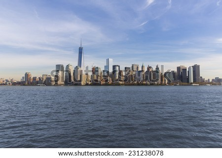 New York City, USA - November 3: View of Manhattan skyline over the Hudson river in New York City, USA on November 3, 2014. - stock photo
