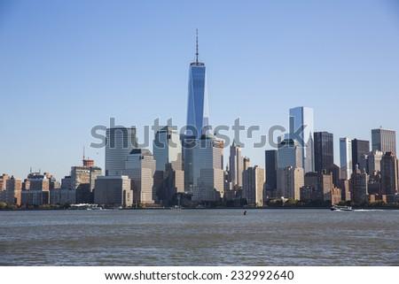 New York City, USA - November 3: View of the Manhattan skyline in New York City, USA on November 3, 2014. - stock photo