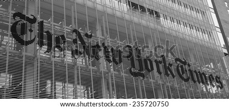 New York City, USA - November 5: View of the New York Times building in New York Times, USA on November 5, 2014. - stock photo