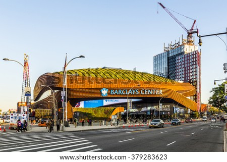 NEW YORK CITY, USA - OCT 20, 2015: Barclays Center is a multi-purpose indoor arena in Brooklyn, New York City. The arena was inaugurated in 2004.