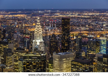 NEW YORK CITY, USA - OCT 23, 2015: Chrysler Building at night  in Manhattan, New York City. It was designed by William Van Alena as Art Deco architecture and the famous landmark. - stock photo