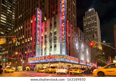 NEW YORK CITY, USA - OCT 1: Radio City Music Hall at Rockefeller Center on October 1, 2009 in New York, NY. Radio City Music Hall is the worlds largest indoor theater. - stock photo