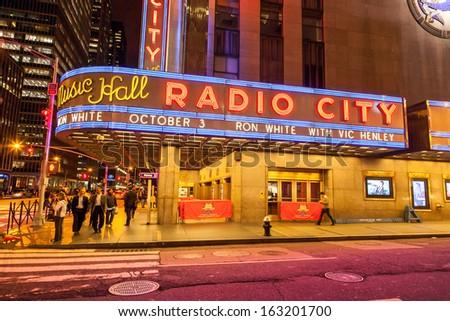 NEW YORK CITY, USA - OCT 1: Radio City Music Hall at Rockefeller Center on October 1, 2009 in New York, NY. Radio City Music Hall is the worlds largest indoor theater. - stock photo