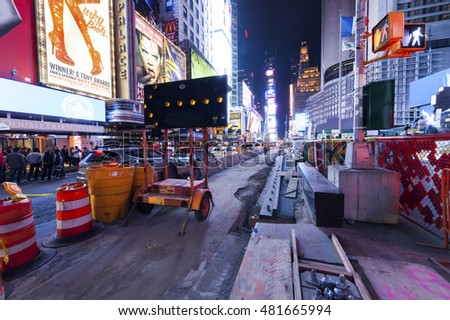 NEW YORK CITY, USA - OCT 4 : Times Square reconstruction of the road and Sidewalks. Taken on Manhattan October 4. 2014, New York City.
