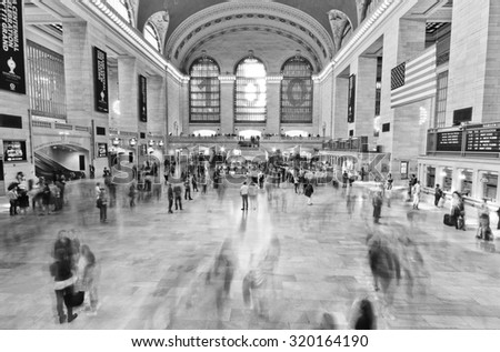 New York City, USA - October 12 : Interior of Grand Central station with lots of passengers passing through in Manhattan, New York City on October 12, 2013. - stock photo