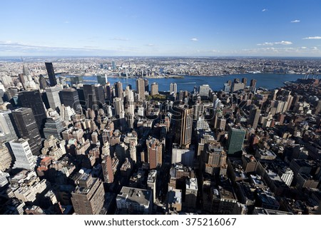 NEW YORK CITY, USA - October 22, 2010: New York  Uptown at dusk, with a Census-estimated population of over 8.4 million in 2013 is the most populous city in the United States