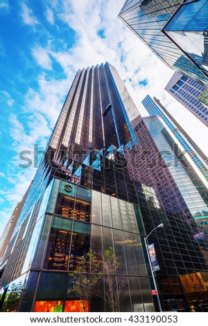 New York City, USA - October 07, 2016: Trump Tower at 5th Ave in Manhattan. It houses the primary penthouse condominium residence of Donald Trump and it is 58-story and 202 m high
