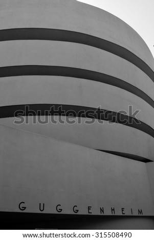 New York City, USA - September 7, 2015: Exterior of the Guggenheim Museum on the Upper East Side of Manhattan in New York City. - stock photo