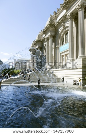New York City, USA, 14 september 2015: fountain and many visitors in front of new york metropolitan museum of art - stock photo