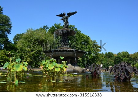 New York City, USA - September 7, 2015: Fountain at Bethesda Terrace in Central Park in New York City. - stock photo