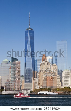 NEW YORK CITY, USA - SEPTEMBER 27, 2014: Freedom Tower in Lower Manhattan. One World Trade Center is the tallest building in the Western Hemisphere and the third-tallest building in the world. - stock photo