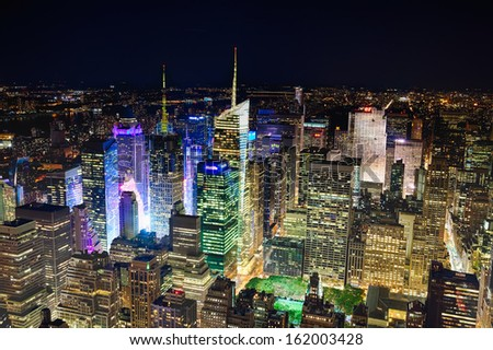 NEW YORK CITY, USA - SEPTEMBER 19: New York Uptown and Times Square on September 19, 2012, featured with Broadway Theaters and animated LED signs, is a symbol of New York City and the United States. - stock photo