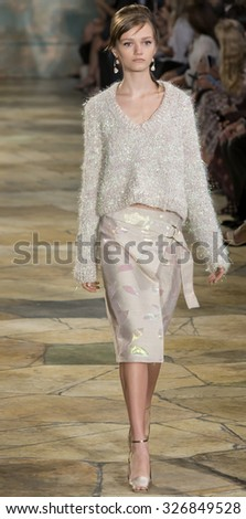 New York City, USA - September 15, 2015: Peyton Knight walks the runway at the Tory Burch fashion show during the Spring Summer 2016 New York Fashion Week at David H. Koch Theater at Lincoln Center - stock photo