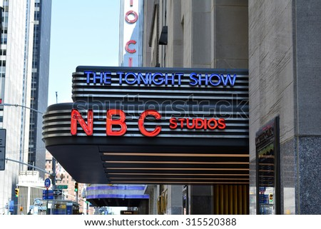New York City, USA - September 7, 2015: Sign for NBC Studios at 30 Rockefeller Center in midtown Manhattan in New York City.